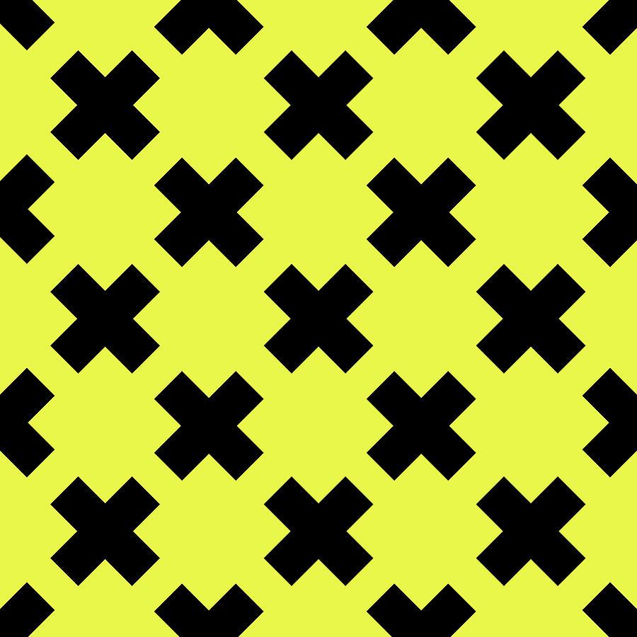 X Cross Pattern 07 - Saint Andrews Cross - Saltire - Black And Yellow Digital Art