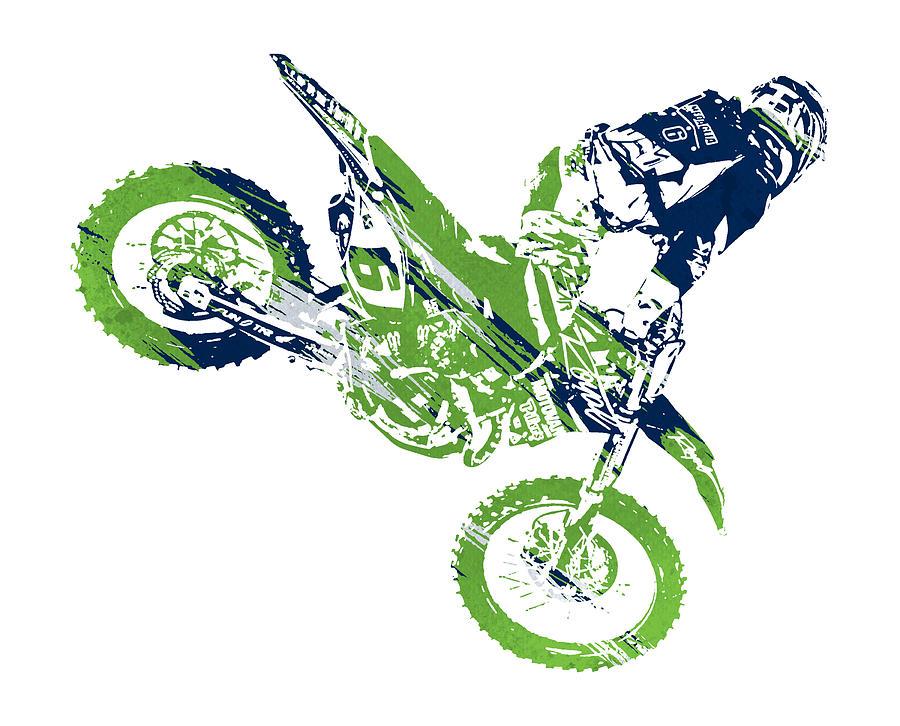 X Games Motocross Watercolor Strokes Pixel Art 1 Mixed Media by Joe Hamilton