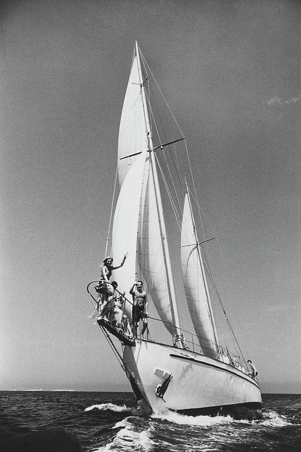 Sailing Yacht Near Italys Costa Smeralda Photograph by Patrick Lichfield