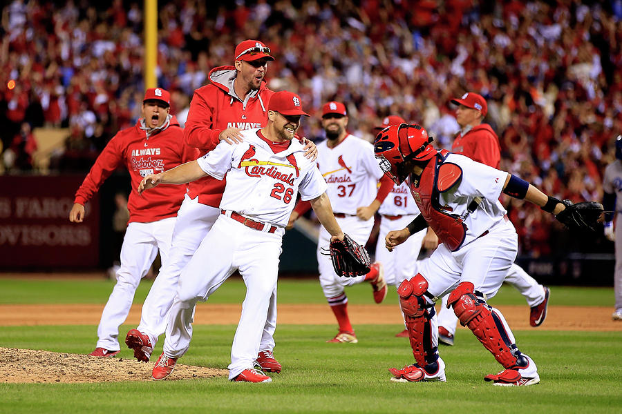 Yadier Molina and Trevor Rosenthal Photograph by Jamie Squire