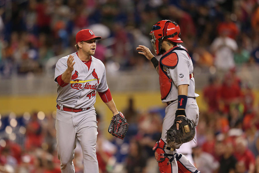 Yadier Molina And Trevor Rosenthal Photograph by Rob Foldy