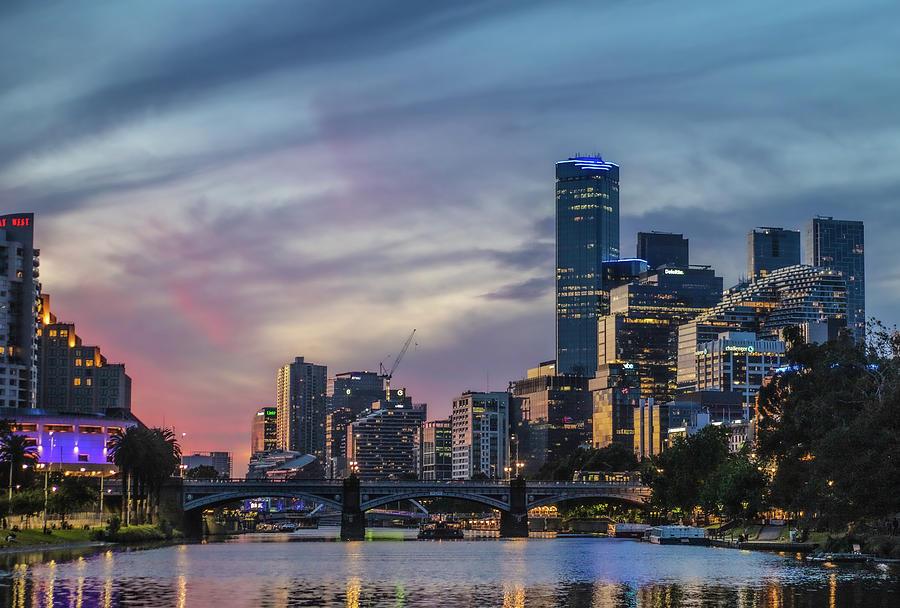 Melbourne Photograph - Yarra River Twilight  by Leigh Henningham