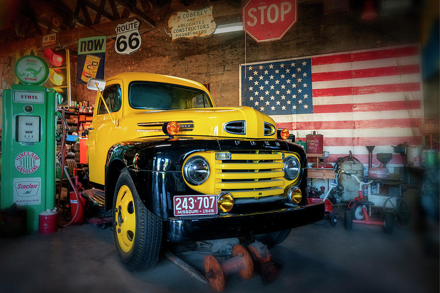 Yellow 1948 F5 Ford Truck Route 66 MO-GRK5999_10082019-HDR by Greg Kluempers