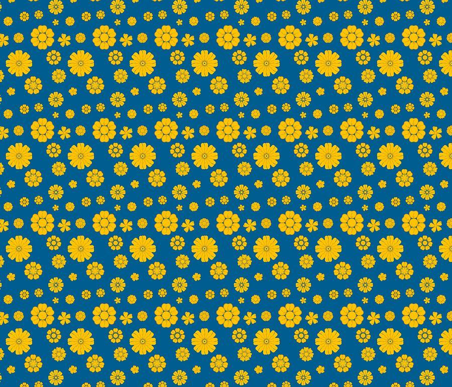 Yellow And Blue Flowers Pattern Digital Art