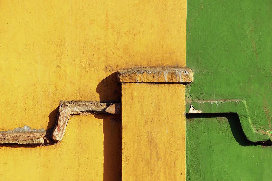 Sections Photograph - Yellow and Green Minimalist Wall Pattern by Prakash Ghai