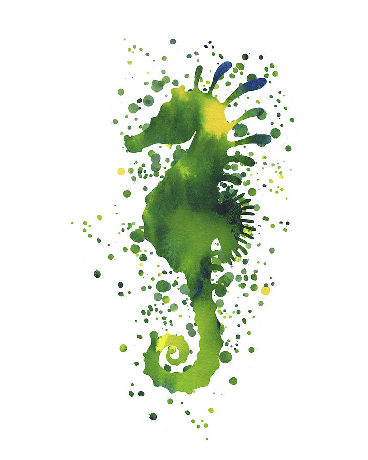 Yellow And Green Seahorse Watercolor Dots Silhouette Painting