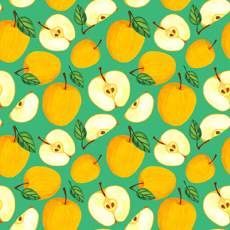 Yellow Apple Seamless Pattern. Watercolor Juicy Golden Apples With Leaves And Seeds On Green Pastel Background. Fresh Harvest Illustration. Sliced Garden Fruit Drawing