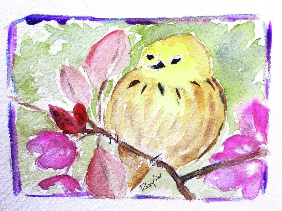 Yellow Bird On Cherry Blossoms Painting