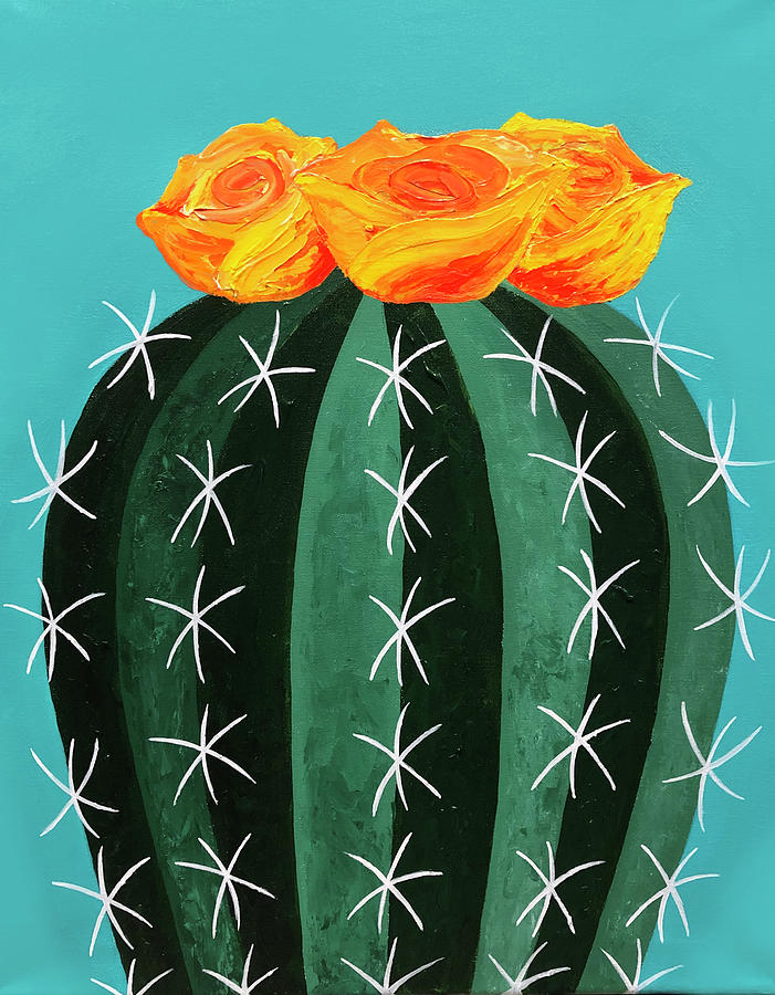 Cactus Painting - Yellow Cactus Flower by Allison Liffman