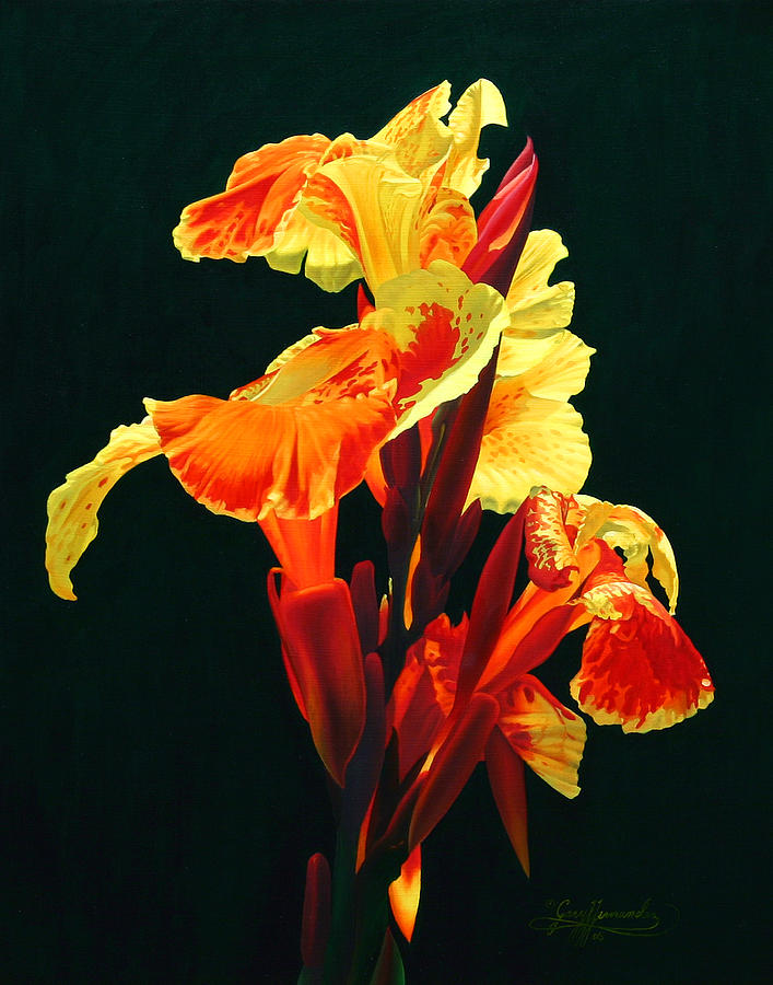 Flowers Painting - Yellow Cannas by Gary  Hernandez
