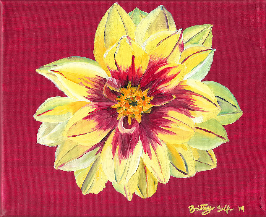 Yellow Flower on Red by Brittany Bert Selfe