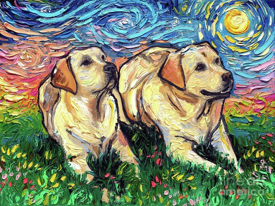 Yellow Labrador Painting - Yellow Labradors Night by Aja Trier
