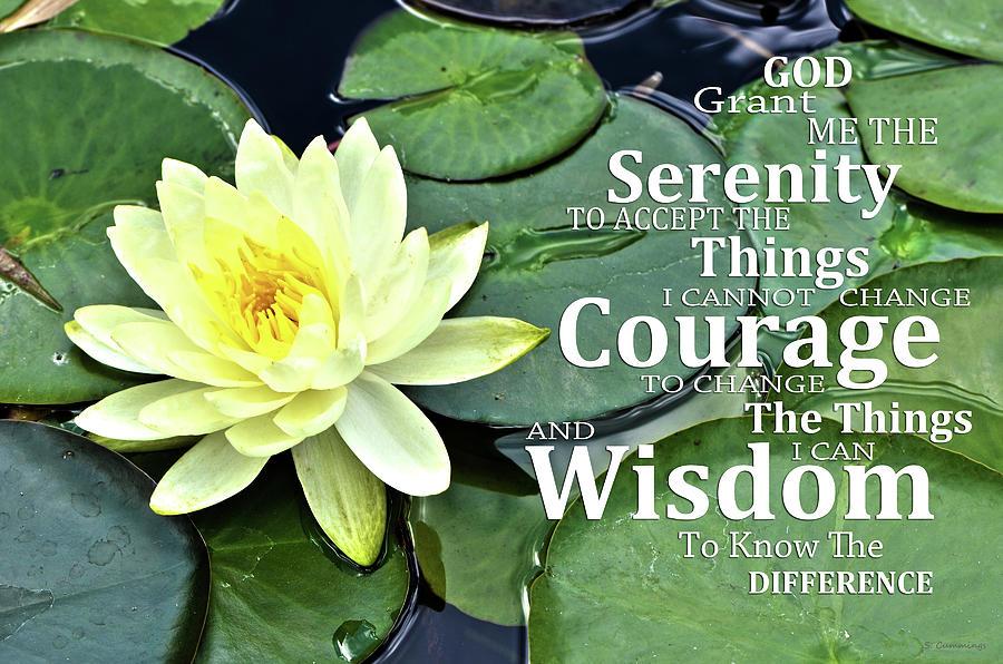 Serenity Prayer Painting - Yellow Lotus Serenity Prayer Art - Sharon Cummings by Sharon Cummings