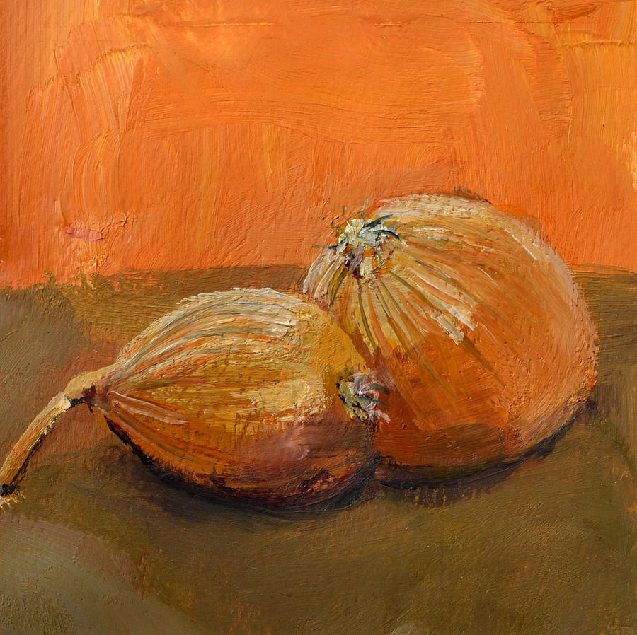 Yellow Onions Still Life Painting by Michelle Calkins