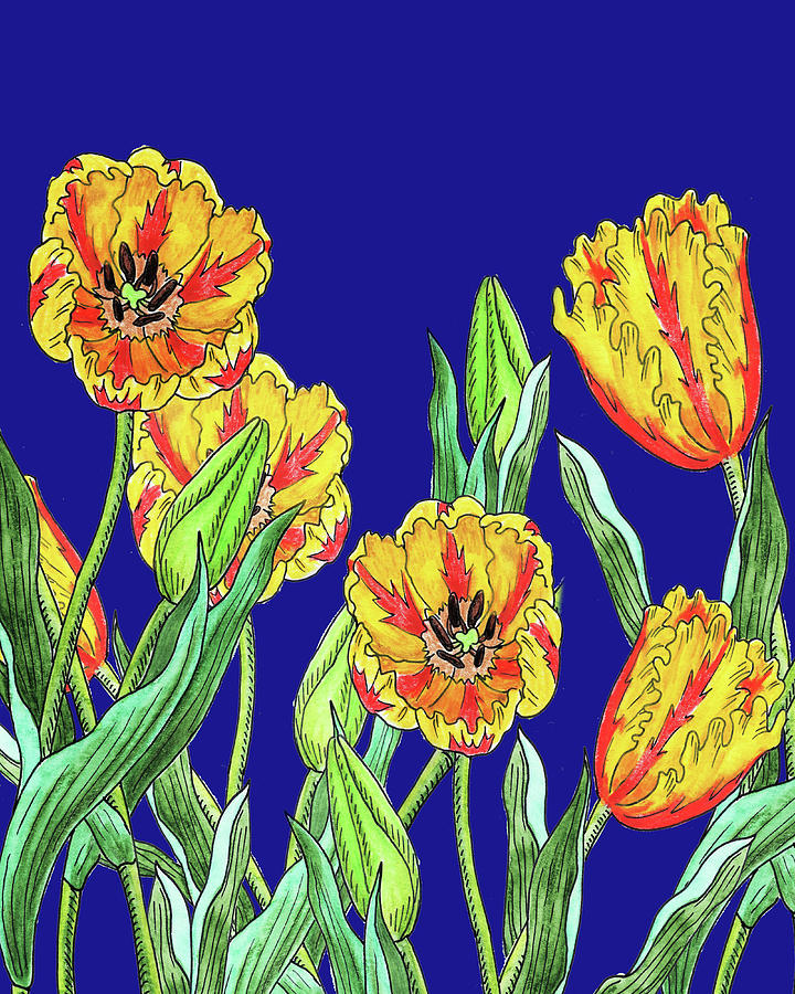Yellow Parrot Tulips Blue Sky Botanical Flowers Watercolor Painting