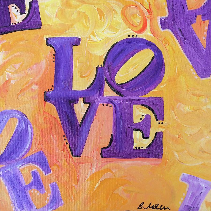 Love Painting - Yellow Purple Love by Britt Miller
