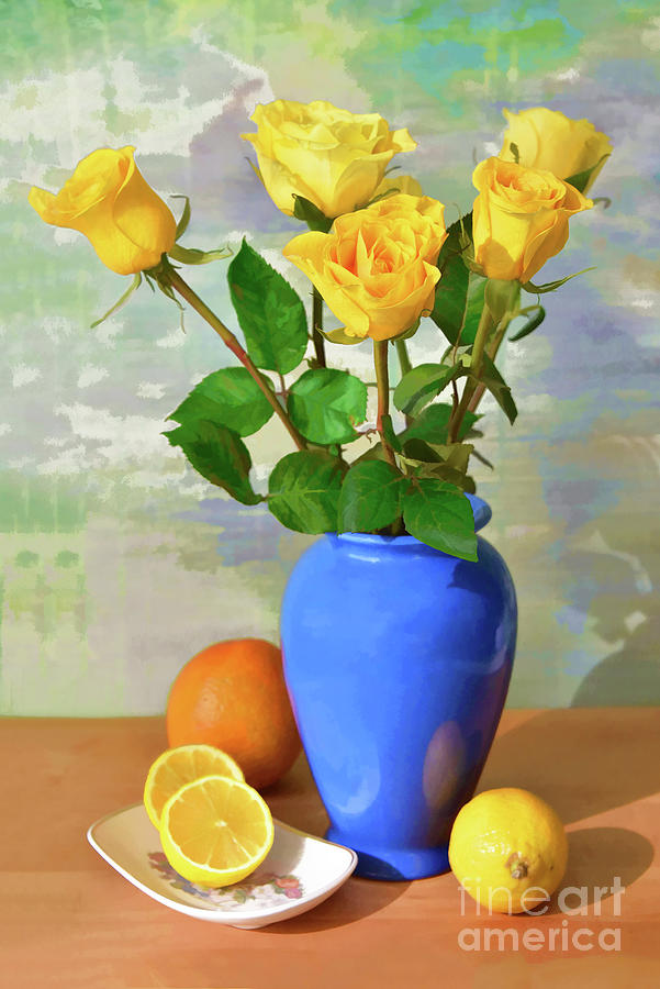 Yellow Rose And Lemon Still Life Photograph