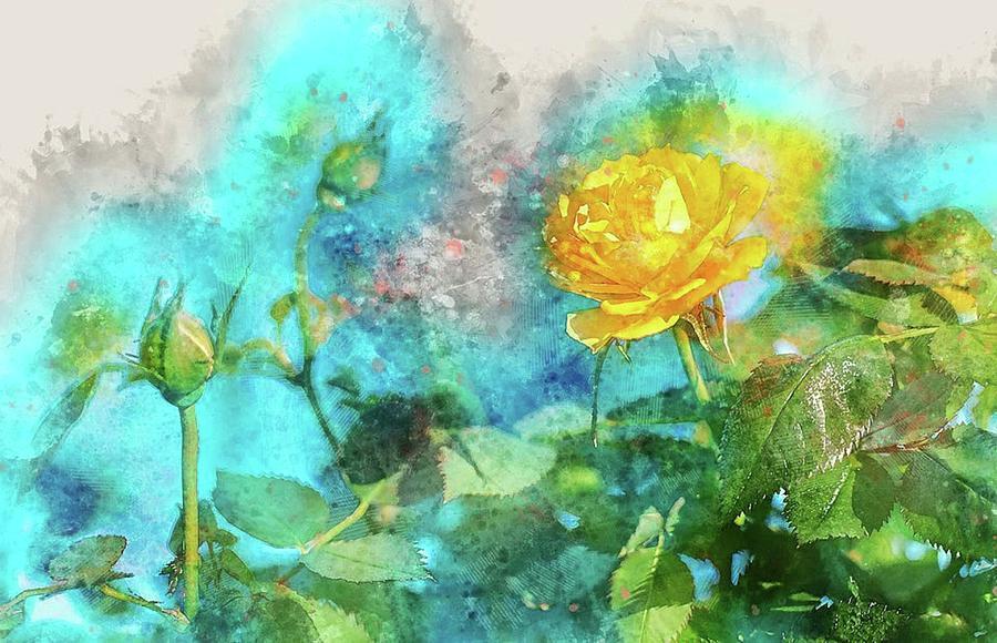 Yellow Rose Mixed Media