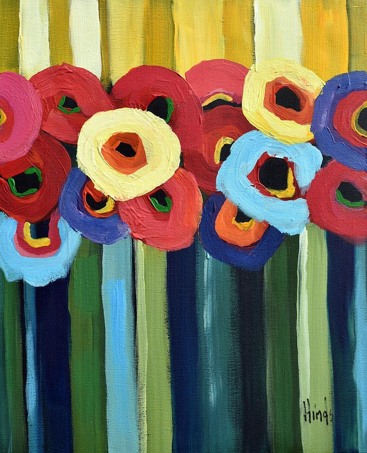 Yellow Sky Poppies Painting