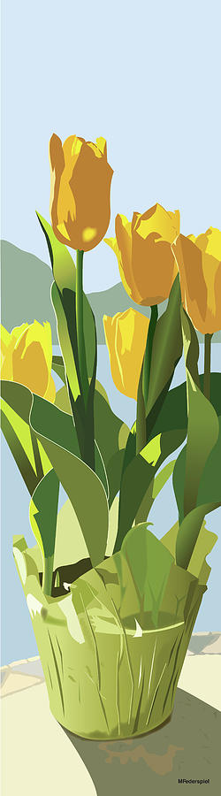 Spring Digital Art - Yellow Store-bought Tulips by Marian Federspiel