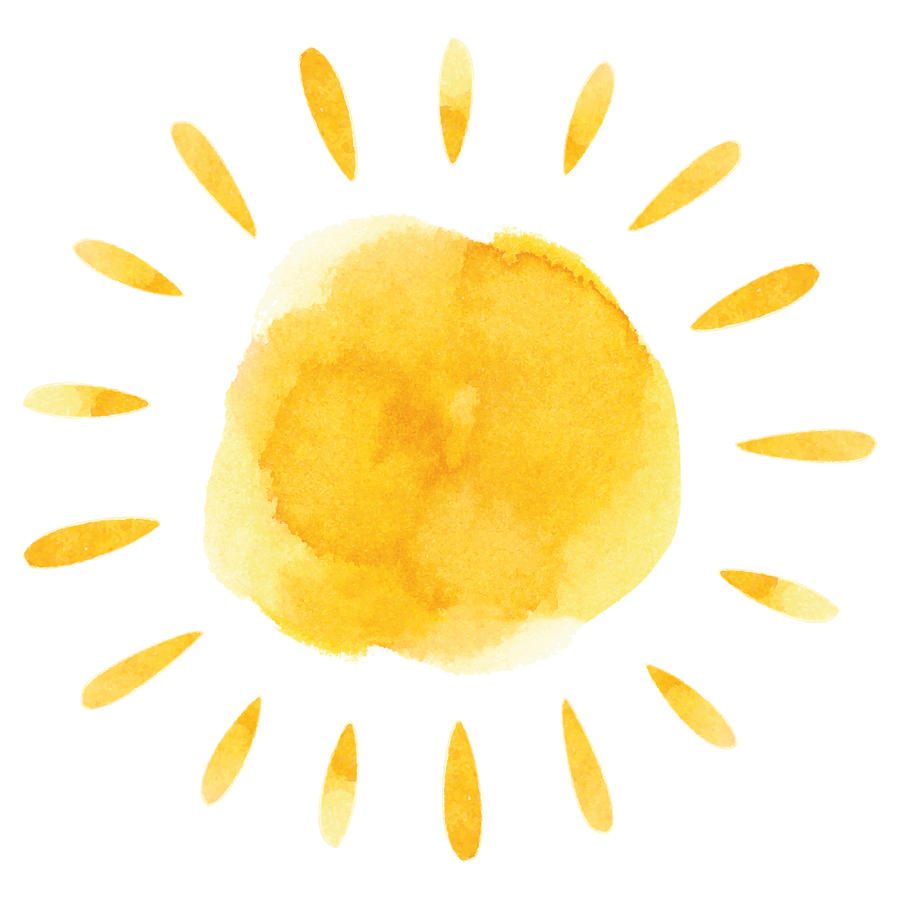 Yellow watercolor sun Drawing by Ollustrator