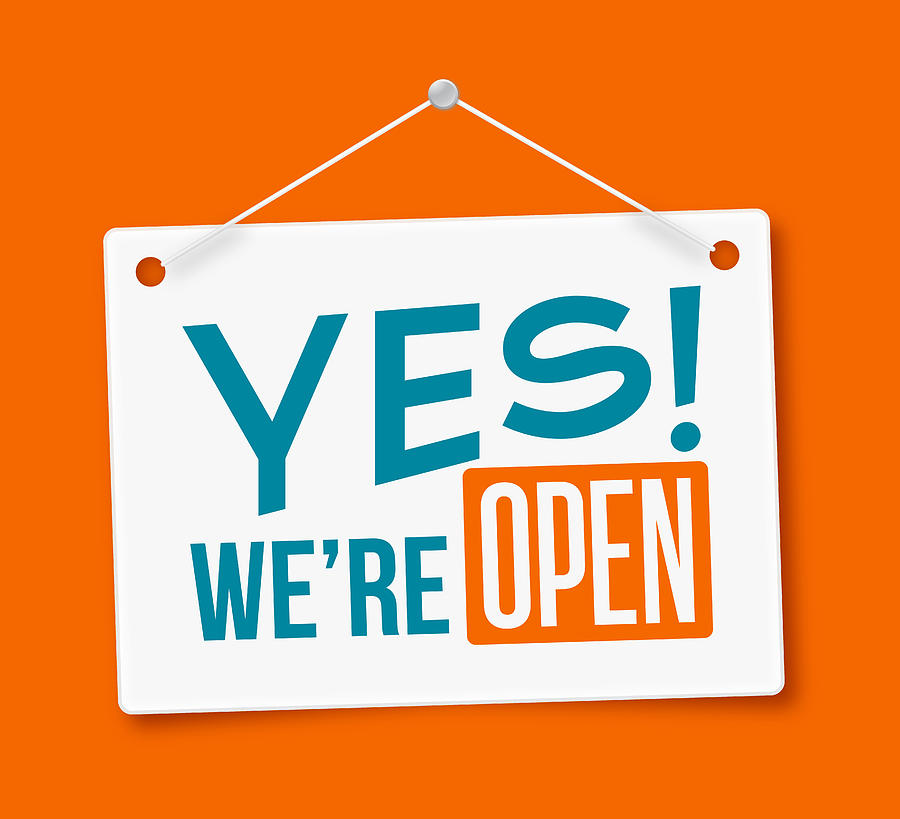Yes, Were Open! Sign Drawing by Filo