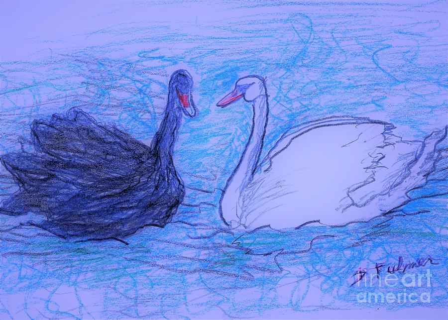 Yin Yang Swans 2 by Denise F Fulmer