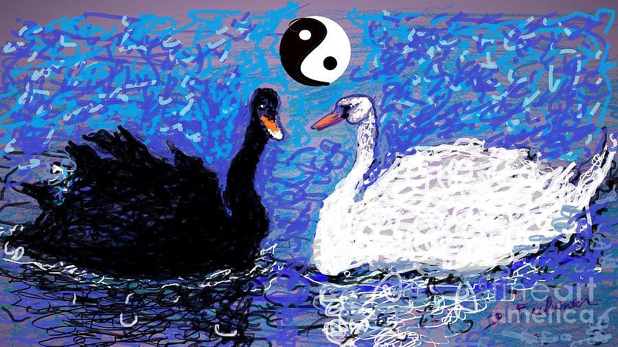 Yin Yang Swans by Denise F Fulmer