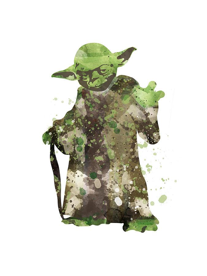 Yoda Starwars Watercolor Digital Art