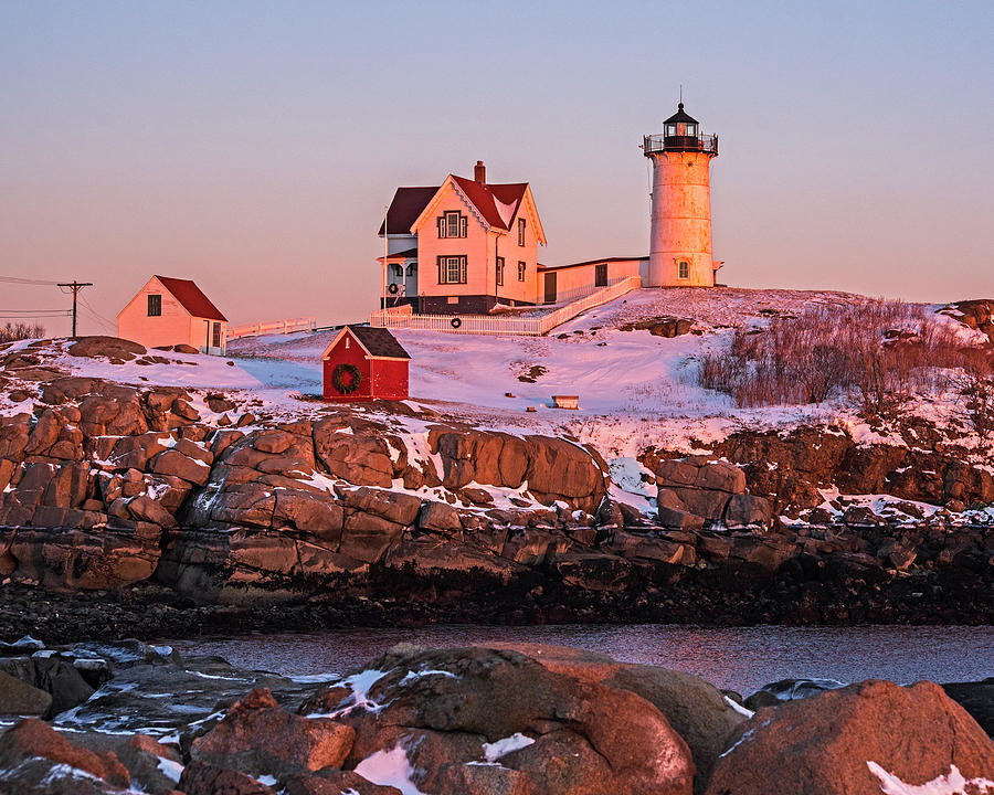 York Maine Nubble Lighthouse Sunset Winter Snow by Toby McGuire