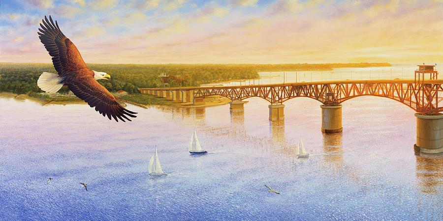 Gloucester Painting - York River Bridge - Eagle by Guy Crittenden