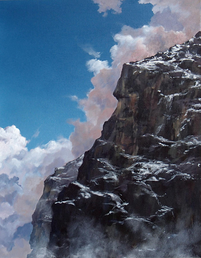 Yosemite Painting - Yosemite cliff face by Philip Fleischer