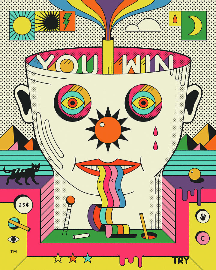 Psychedelic Digital Art - You Win Nice Try by Jazzberry Blue