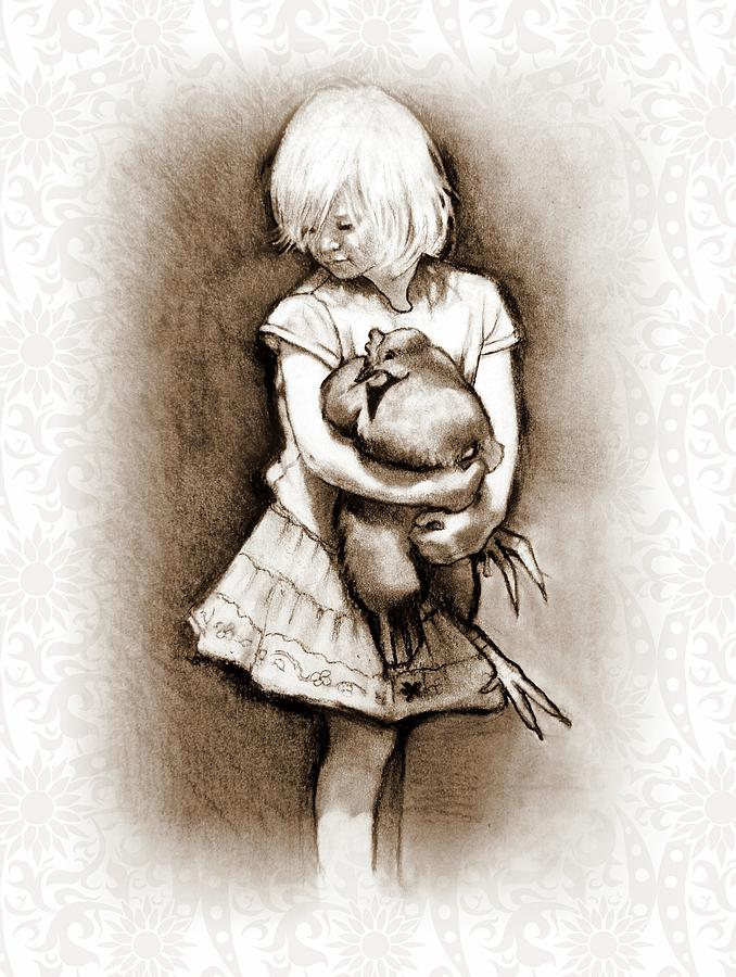 Young Girl Holding A Chicken Drawing