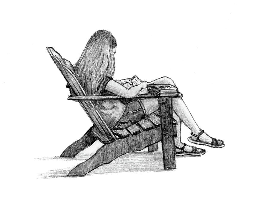 Young Girl Reading Drawing