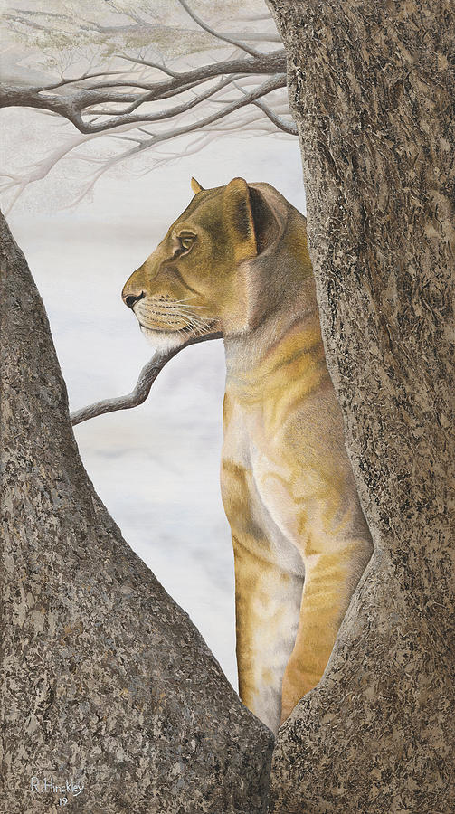 Lion Painting - Young Lion In Tree by Russell Hinckley