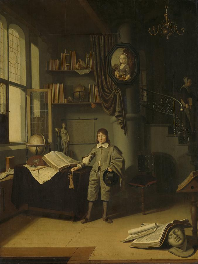 Young Man In A Study Painting