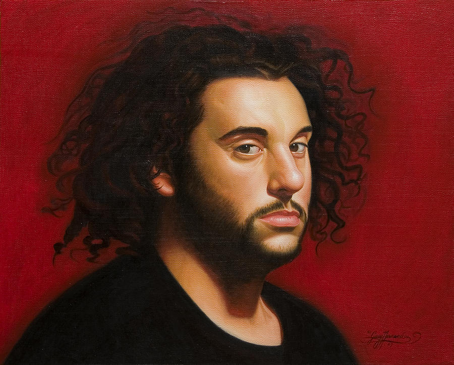 Portrait Of A Young Man Painting - Young Man in Black by Gary  Hernandez