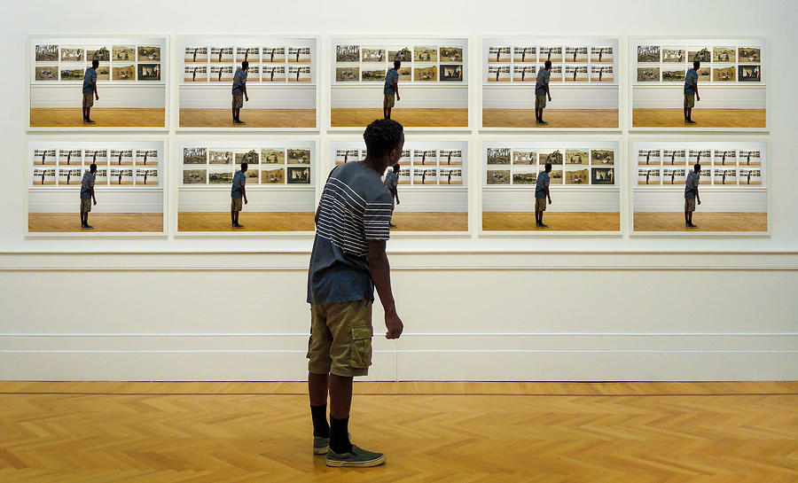 Young Man See Himself In Art Gallery Painting Surreal Digital Art