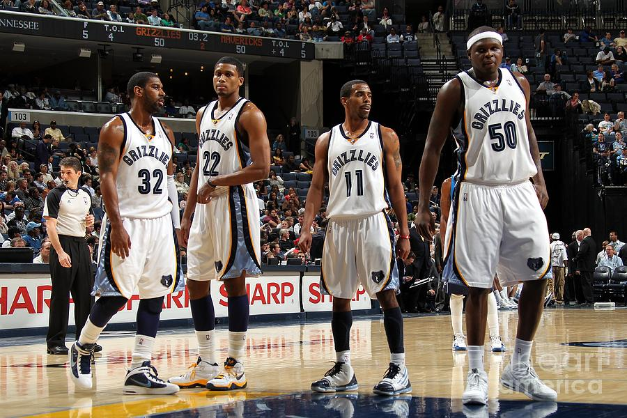 Zach Randolph, Rudy Gay, And O.j. Mayo Photograph by Joe Murphy