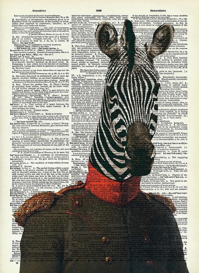 Zebra In Army Suit Digital Art