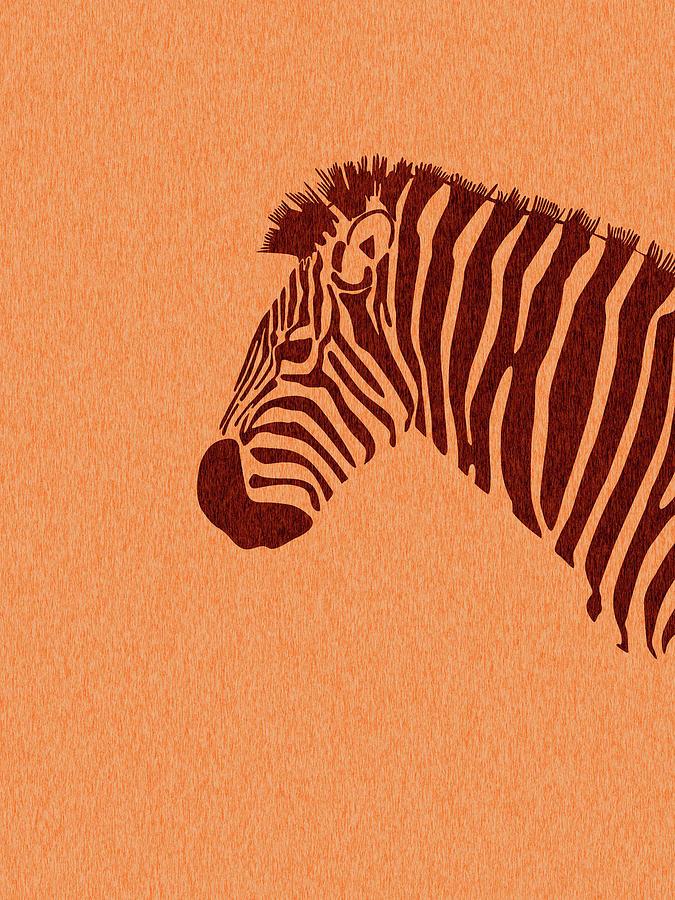 Zebra Print - Scandinavian Nursery Decor - Animal Friends - For Kids Room - Minimal Mixed Media
