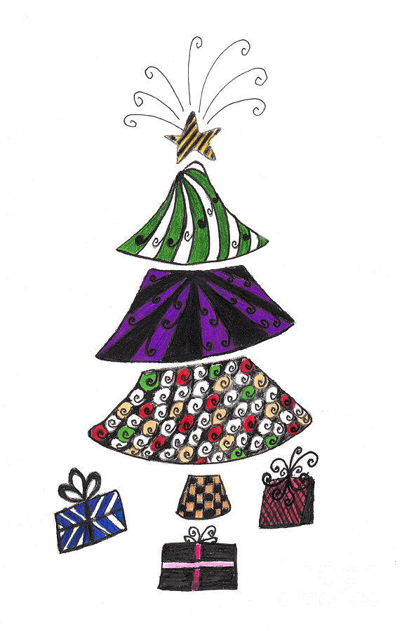 Zentangle Christmas Tree Drawing