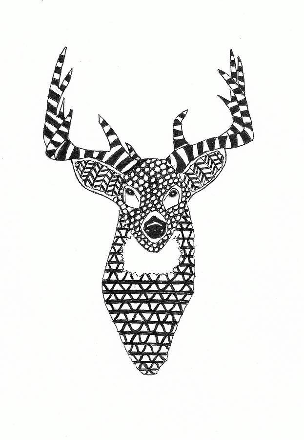 Zentangle Drawing - Zentangle Deer Portrait by Michael Vigliotti