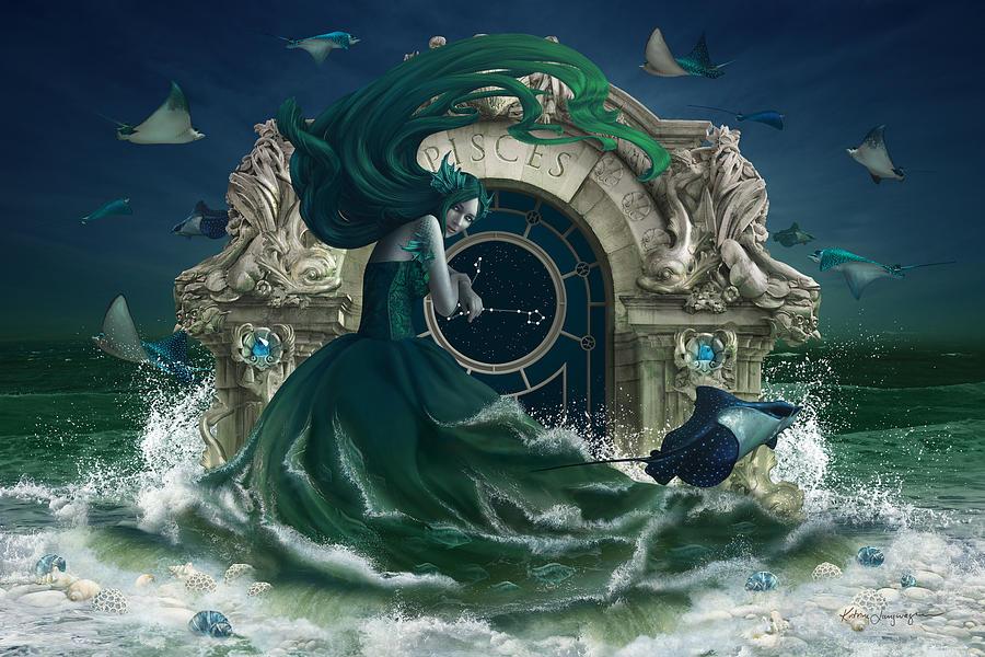 Fantasy Digital Art - Zodiac - Pisces by Cassiopeia Art