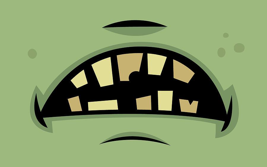 Zombie Frankenstein Monster Mouth Digital Art