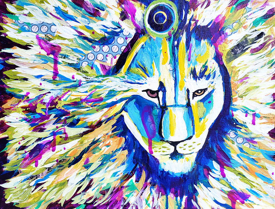 Lion Painting - Zoom Lion by Goddess Rockstar