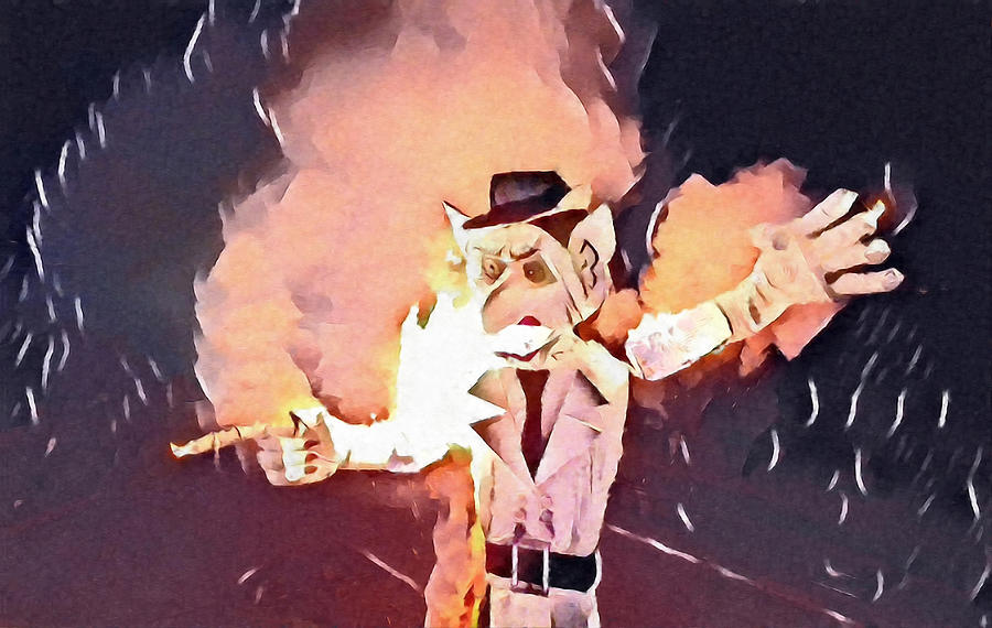 Santa Fe Digital Art - Zozobra Burns by Aerial Santa Fe