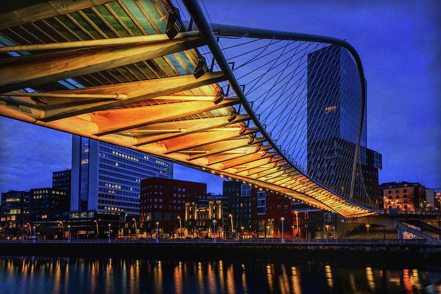 Zubizuri Bridge Bilbao Spain Photograph
