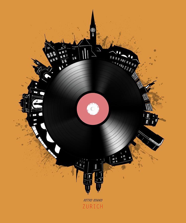 Zurich Skyline Vinyl 2 Digital Art